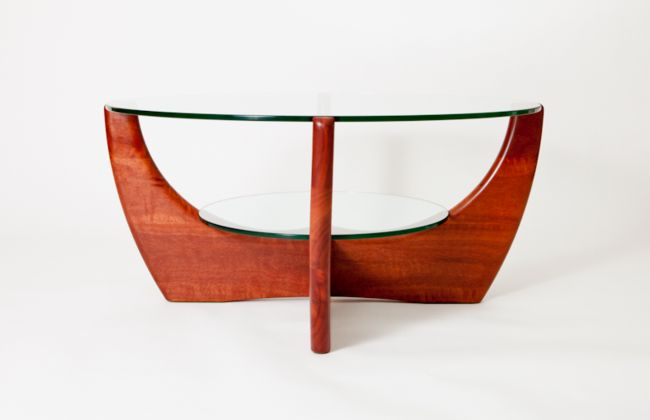 Coffee table with shelf in jarrah by Peter Walker Furniture, Perth