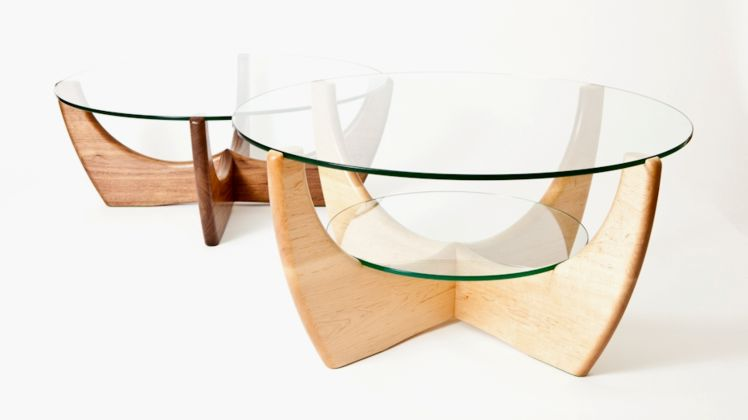 Peter Walker Furniture - Maple and walnut round coffee tables
